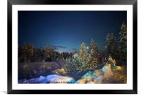 The moon glows under the wintered stars , Framed Mounted Print