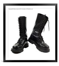 Pair of black leather bovver boots with laces , Framed Mounted Print