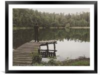 Loneliness by the lake, Framed Mounted Print