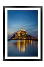 Mont Saint Michel Twilight, Framed Mounted Print