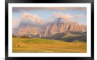 Last light at Alpe Di Suisi, Framed Mounted Print