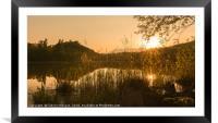 Spring sunset over the lake, Framed Mounted Print