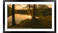 Sunset over the lake, Framed Mounted Print
