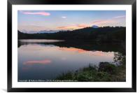 Pink clouds over the lake, Framed Mounted Print