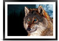 Fractal flame wolf head with moon behind, digital , Framed Mounted Print