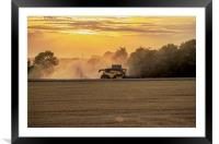 Combine at sunset, Framed Mounted Print