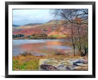 """""""Winding path across the lake"""", Framed Mounted Print"""