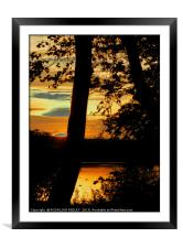 """Sunset across the lake"", Framed Mounted Print"