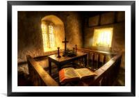 A bible at the altar at Llanrhychwyn Church, Framed Mounted Print