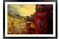 A Red Pillar Box and Telephone Booth on Castle St, Framed Mounted Print