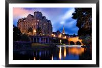 Bath, Somerset and the River Avon at Dusk, Framed Mounted Print