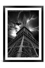 Eiffel Tower - Lightning Storm, Framed Mounted Print