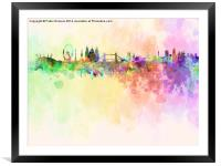London skyline in watercolor background, Framed Mounted Print
