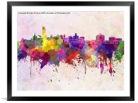 Albany skyline in watercolor background, Framed Mounted Print