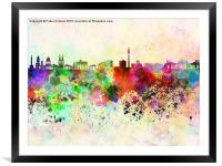 Berlin skyline in watercolor background, Framed Mounted Print