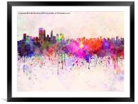 Perth skyline in watercolor background, Framed Mounted Print