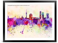 Munich skyline in watercolor background, Framed Mounted Print
