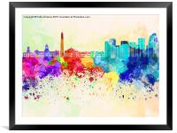 Buenos Aires skyline in watercolor background, Framed Mounted Print