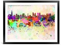 Tel Aviv skyline in watercolor background, Framed Mounted Print