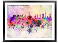 Tokyo skyline in watercolor background, Framed Mounted Print
