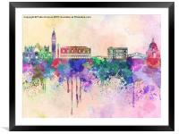 Venice skyline in watercolor background, Framed Mounted Print