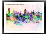 Vienna skyline in watercolor background, Framed Mounted Print