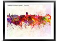 Sheffield skyline in watercolor background, Framed Mounted Print