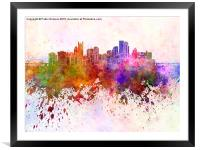 Pittsburgh skyline in watercolor background, Framed Mounted Print