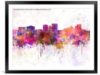 El Paso skyline in watercolor background, Framed Mounted Print