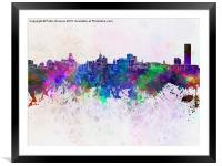 Buffalo skyline in watercolor background, Framed Mounted Print