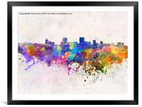 Anchorage skyline in watercolor background, Framed Mounted Print
