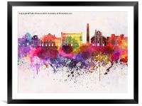 Bari skyline in watercolor background, Framed Mounted Print