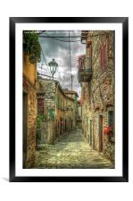 Tuscany Medieval Alleyway , Framed Mounted Print