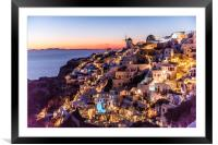 Sunset in Oia Santorini, Framed Mounted Print