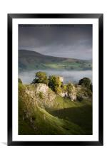 Peveril Castle in moody lighting, Castleton, Derb, Framed Mounted Print