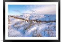 Soft drifted snow in the Peak District, Framed Mounted Print
