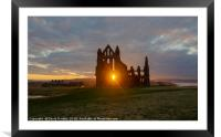 Sun setting at Whitby Abbey, Framed Mounted Print