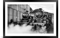 Steam loco's Sir Eric Treacy and The Green Knight, Framed Mounted Print