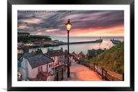 A summer sunset over Whitby pier, Framed Mounted Print