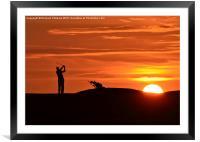 Golfer at sunset, Framed Mounted Print