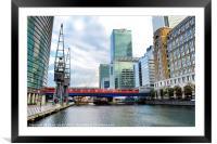 Train Into Canary Wharf, Framed Mounted Print