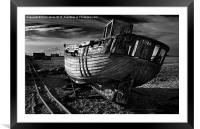 Abandoned Fishing Boat at Dungeness., Framed Mounted Print