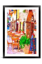 cobbled back streets of Kaleici in Antalya Turkey, Framed Mounted Print