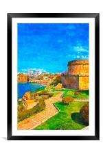 painting of Kaleici in Antalya Turkey, Framed Mounted Print