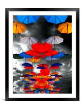 colorful umbrellas against a stormy sky, Framed Mounted Print