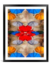 colorful umbrellas against a grungy background, Framed Mounted Print