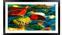 Colorful Pebbles on the seashore , Framed Mounted Print
