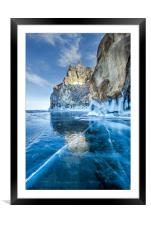 Blue Ice of the Lake Baikal, Framed Mounted Print