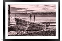 Old rusty boat with net (sepia), Framed Mounted Print