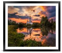 Summer sunset, Framed Mounted Print